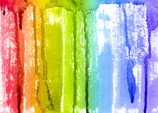 Abstract Watercolor Rainbow Paint Brush and Drips Background Stock Photos