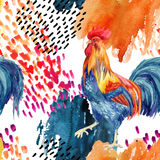 Abstract watercolor rooster seamless pattern. Stylized rooster with grunge doodle and watercolor textures. Hand painted illustration Stock Image