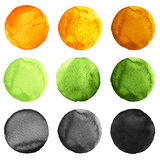 Abstract watercolor round painted backgrounds, blobs of blue, yellow, orange, black colors Royalty Free Stock Photos