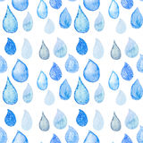 Abstract Watercolor seamless pattern with rain drops blue and wh Stock Photo