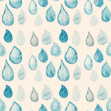 Abstract Watercolor seamless pattern with rain drops blue and wh Royalty Free Stock Photos