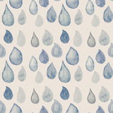 Abstract Watercolor seamless pattern with rain drops blue and wh Royalty Free Stock Photography