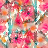 Abstract watercolor seamless pattern with splatter spots, drops and splashes. Bright red, pink, orange, turquoise and white color palette vector illustration