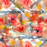 Abstract watercolor seamless pattern with splatter spots, drops and splashes. Bright red, yellow, indigo blue and white color palette stock illustration