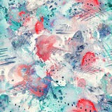 Abstract watercolor seamless pattern with splatter spots, lines, drops, splashes and hearts. Turquoise, red, grey and white color palette and grunge texture royalty free illustration