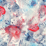Abstract watercolor seamless pattern with splatter spots, lines, drops, splashes and hearts. Blue, red, grey and white color palette stock illustration