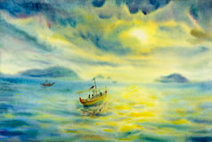 Abstract watercolor seascape original painting colorful of fishing boat. And emotion in solar clouds background royalty free illustration