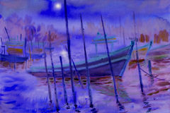 Abstract watercolor seascape  original  painting colorful of fishing boat. Abstract watercolor seascape  original  paintings colorful of reflections on the water Royalty Free Stock Image