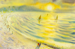Abstract watercolor seascape  original  painting colorful of sailing holiday. Abstract watercolor seascape  original  painting on paper colorful of sailing Stock Images
