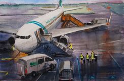 Abstract watercolor sketch view of airport. Stock Image
