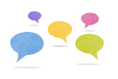 Abstract Watercolor Speech Bubbles with Shadows. Five abstract watercolor textured speech bubbles with shadows. Social media networking concept in blue, yellow Stock Photo