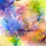 Abstract watercolor splash background. Artistic painting illustration on paper Stock Image