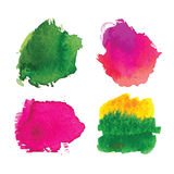 Abstract watercolor splash set. On white background. Colorful watercoulor texture for your design. Vector illustration stock illustration
