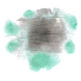 Abstract watercolor splash. watercolor drop black green isolated blot for your design art Stock Photos