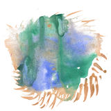 Abstract watercolor splash. watercolor drop brown green isolated blot for your design art Royalty Free Stock Photos