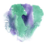 Abstract watercolor splash. watercolor drop green purple isolated blot for your design art Royalty Free Stock Images