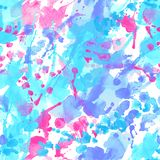 Abstract watercolor splatter seamless pattern. Colorful brush strokes, blots, spray backgrond. Hand painted water color illustration stock illustration