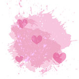 Abstract watercolor spot background with pink hearts . Splash texture background isolated on white. Stock Photo