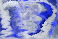 Abstract watercolor spots of white and blue. Color blur on paper. stock image