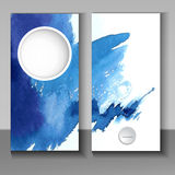 Abstract watercolor style brochure design in blue Stock Photos