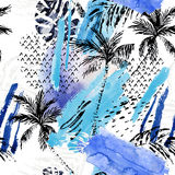 Abstract watercolor summer seamless pattern. Watercolour rough shabby splash, brush stroke, palm trees, leaves with ink grunge, doodle texture on white Stock Image