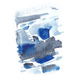 Abstract watercolor texture with painted stains and strokes. Delicate artistic background. Indigo and gray colors Royalty Free Stock Image
