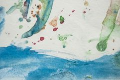Abstract watercolor texture on white paper background. Creative vibrant grunge watercolor background royalty free stock image