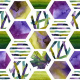 Abstract watercolor textured hexagon shapes seamless pattern. Stock Image