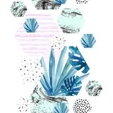 Abstract watercolor tropical seamless pattern. Geometric background: fan palm, monstera leaves, hexagon with doodle, marbling texture. Hand drawn art Stock Image