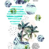 Abstract watercolor tropical seamless pattern. Geometric background: palm trees, leaves, hexagon filled with doodle, marbling texture. Hand drawn art vector illustration