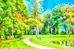 Digital artwork in watercolor painting style. Abstract watercolor urban landscape. Autumn Park with a path around the pond or lake. Sky and trees are reflected royalty free stock images