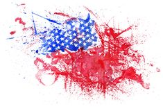 Abstract Watercolor USA Flag Stock Photography