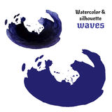 Abstract watercolor vector wave. Vector ink silhouette and watercolor wave frame. Stock Photos