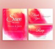 Abstract watercolor wedding invitation card set. Illustration Royalty Free Stock Photos