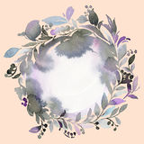Abstract watercolor wreath greeting card. In cold gamut Stock Images