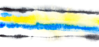 Abstract  watercolor yellow blue black background Royalty Free Stock Images