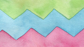 Abstract watercolor zigzag painted background. Royalty Free Stock Image