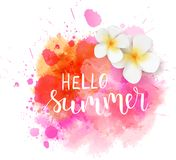 Hello summer watercolored blot. Abstract watercolored grunge splash with handwritten modern calligraphy text `Hello summer`. Tropical frangipani flowers on pink stock illustration