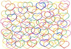 Abstract watercolour background with outlines of hearts. The aut stock image