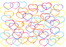Abstract watercolour background with outlines of hearts . Hand d Royalty Free Stock Photography