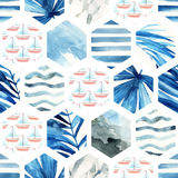 Abstract waterverf geweven hexagon naadloos patroon Stock Fotografie