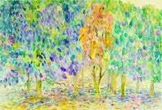Abstract waterverf origineel het schilderen landschap, kleuren van aard Royalty-vrije Stock Fotografie