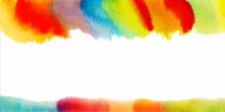 Abstract waterverfkader Hand geschilderde textuur Affiche, kaart of uitnodigingsmalplaatje Stock Foto