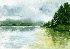 Abstract waterverflandschap royalty-vrije illustratie