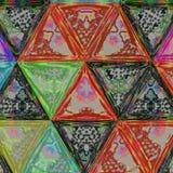 Abstract waterverfpatroon Betegelde geometrische ononderbroken achtergrond in driehoeken met potloodeffect Royalty-vrije Stock Foto's