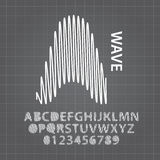 Abstract Wave Alphabet and Numbers Vector Royalty Free Stock Photos