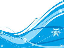 Abstract wave background. With snowflakes. Vector illustration Stock Image