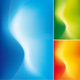 Abstract wave background. Abstract wave lines on smooth gradient background in three different colours. Full editable vector illustration Royalty Free Stock Photo