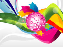 Abstract wave background with disco ball, colorful Stock Photography