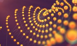 Mesh or net with lines and geometrics shapes detail.3d illustrat Stock Images